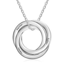 Cusume Jewellery 3 Round Silver Necklace for Women,Pendant for Mum Grandma BFF Name Necklace Chain Personalised Gifts,Customised Engraved 3 Family Names Necklaces von Smileface