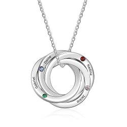 Cusume Jewellery 4 Round Silver Necklace for Women,Pendant for Mum Grandma BFF Name Necklace Chain Personalised Gifts,Customised Engraved 4 Family Names Necklaces 4 Simulated Birthstone Necklaces von Smileface
