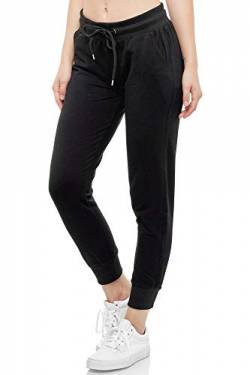 Smith & Solo Women's Jogging Bottoms - Sports Trousers Women Cotton | Sweatpants Slim Fit Casual Trousers Long | Training Trousers Fitness High Waist - Jogger Running Trousers Modern - Black - X-Large von Smith & Solo