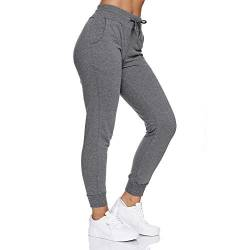 Smith & Solo Jogginghose Damen – Sporthose Frauen Baumwolle |Sweatpants Slim Fit Freizeithose Lang | Trainingshose Fitness High Waist – Jogger Laufhosen Modern (S, Anthrazit) von Smith & Solo