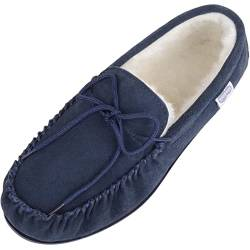 Snugrugs Herren Lambswool Suede with Rubber Sole Hausschuhe, Blau (Marineblau), 42 von Snugrugs