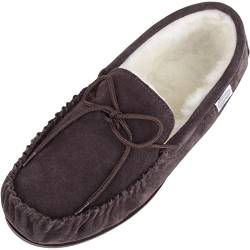 Snugrugs Wool Lined Suede Moccasin With Rubber Sole Herren Hausschuhe, Braun (Brown), 46 EU von Snugrugs