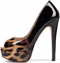 Soireelady Damen Peep Toe Pumps,Thick Plateau Pumps,Stiletto High Heel Pumps,Elegant Party Hochzeit Schuhe EU39 Leopard Schwarz von Soireelady