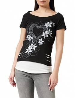 Spiral Direct Damen Pure of Heart-2in1 White Ripped Top Black T-Shirt, Schwarz (Black & White 008), 34 (Herstellergröße: Small) von Spiral Direct