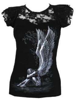 Spiral Direct Damen Enslaved Angel-Lace Layered Cap Sleeve Top T-Shirt, Schwarz (Black 001), 46 (Herstellergröße: X-Large) von Spiral Direct