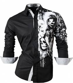 Sportrendy Herren Freizeit Hemden Slim Button Down Long Sleeves Dress Shirts Tops JZS047 Black XL von Sportrendy
