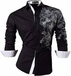 Sportrendy Herren Freizeit Hemden Slim Button Down Long Sleeves Dress Shirts Tops JZS048 Black L von Sportrendy