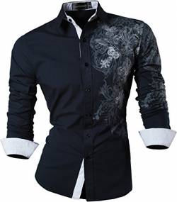 Sportrendy Herren Freizeit Hemden Slim Button Down Long Sleeves Dress Shirts Tops JZS048 Navy M von Sportrendy