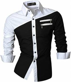 Sportrendy Herren Freizeit Hemden Slim Button Down Long Sleeves Dress Shirts Tops JZS052 Black M von Sportrendy