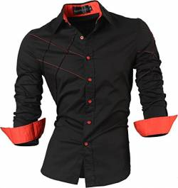 Sportrendy Herren Freizeit Hemden Slim Button Down Long Sleeves Dress Shirts Tops JZS044 Black L von Sportrendy