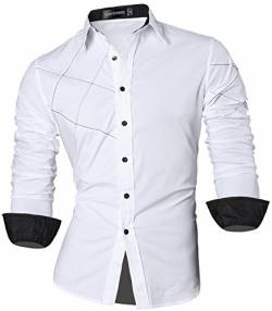 Sportrendy Herren Freizeit Hemden Slim Button Down Long Sleeves Dress Shirts Tops JZS044 White L von Sportrendy
