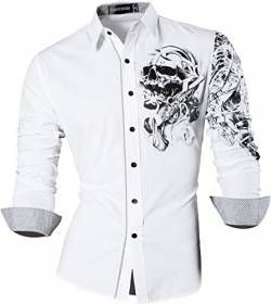 Sportrendy Herren Freizeit Hemden Slim Button Down Long Sleeves Dress Shirts Tops JZS042 White XL von Sportrendy