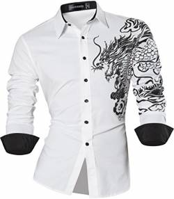 Sportrendy Herren Freizeit Hemden Slim Button Down Long Sleeves Dress Shirts Tops JZS041 White L von Sportrendy