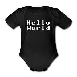 Spreadshirt Hello World Baby Bio-Kurzarm-Body, 62, Schwarz von Spreadshirt