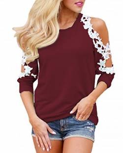 Style Dome Bluse Damen Langarm Schulterfrei Casual Off Shoulder Oberteile Langarmshirt Spitzen Blouse Tops Weinrot L von Style Dome