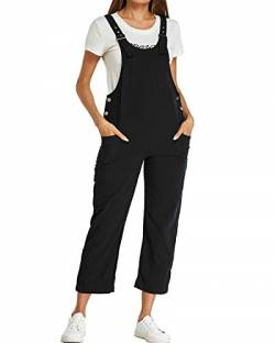 Style Dome Damen Latzhose Loose Overall Jumpsuit Casual Lange Retro Stylisch Sommerhose Schwarz-A14830 L von Style Dome
