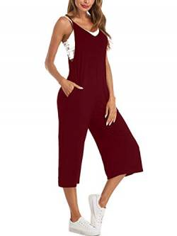 Style Dome Jumpsuit Damen Latzhose Hose Haremshose Overall Lange Hosenanzug Spielanzug Wide Leg Weinrot-A14825 L von Style Dome