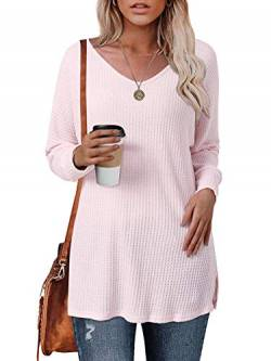 Style Dome Pullover Damen Lang Oversize Stricken Pullover Langarm Tunika Casual Oberteil Rosa-739612 M von Style Dome