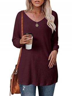 Style Dome Pullover Damen Lang Oversize Stricken Pullover Langarm Tunika Casual Oberteil Weinrot-739612 M von Style Dome