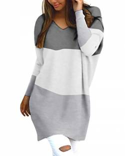 Style Dome Pullover Damen Oversize Langarmshirt Casual Bluse Oberteile Patchwork Hoodie Bluse Jumper Grau-D54792 L von Style Dome