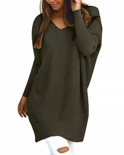 Style Dome Pullover Damen Casual Langarmshirt Bluse V-Ausschnitt Loose Langarm Tunika Oberteil Armeegrün-F723402 S von Style Dome