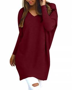 Style Dome Pullover Damen Casual Langarmshirt Bluse V-Ausschnitt Loose Langarm Tunika Oberteil Weinrot-F723402 L von Style Dome