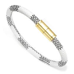 Armband Armreif,Schmuck Geschenk, Charm Stripe Leather Bracelet Men Gold Magnet Bracelets&Bangles Jewelry Real Cowhide Rope Bracelet for Women Trendy Armband Gift White von Styliee bracelet