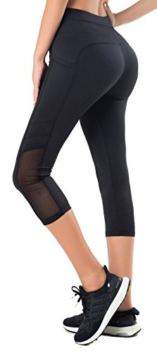 Sudawave Damen Workout Leggings für Damen mit Pocket Running Active Tights Yogahosen (Mesh Schwarz(Capri), S) von Sudawave