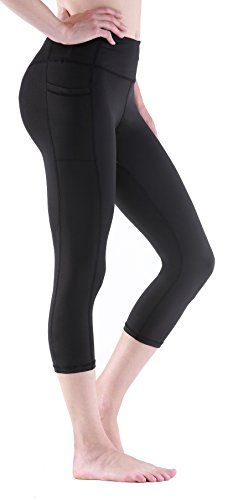 Sudawave Damen Workout Leggings für Damen mit Pocket Running Active Tights Yogahosen (Schwarz(Capri), M) von Sudawave