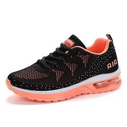 Herren Damen Laufschuhe Turnschuhe Sportschuhe Straßenlaufschuhe Sneakers Atmungsaktiv Trainer für Running Fitness Gym Outdoor Leichte Black Orange 42 EU von Sumateng