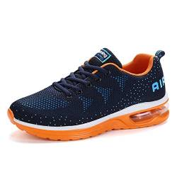 Herren Damen Laufschuhe Turnschuhe Sportschuhe Straßenlaufschuhe Sneakers Atmungsaktiv Trainer für Running Fitness Gym Outdoor Leichte Blue Orange 44 EU von Sumateng