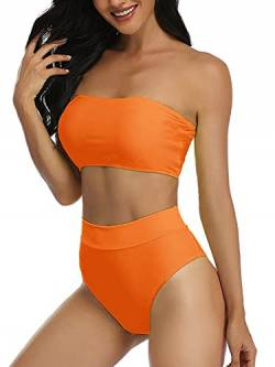 Summer Mae Damen Bikini Set High Waist Bandeau High Cut Trägerlos Zweiteilig Bademode Badeanzug Orange L von Summer Mae
