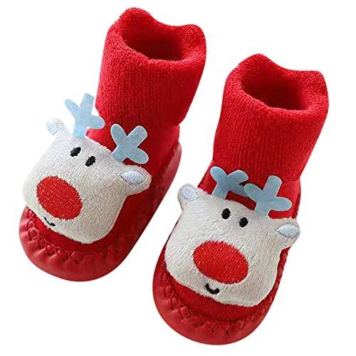 Baby Mädchen Junge Rutschfeste Socken Weihnachten Fußboden Hausschuh Schuhe Step