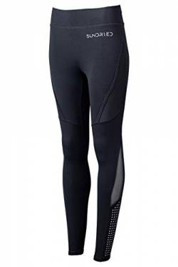 Sundried Sport Trainingshose Damen Seamless Fitness Lauf Gym Tights (Schwarz, L) von Sundried