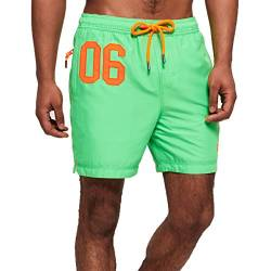 Superdry Badeshorts Herren Waterpolo Swim Shorts Deck Bright Green, Größe:S von Superdry