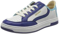 Superdry Herren Basket LUX Low Trainer Sneaker, White/Navy/Aqua, 41 EU von Superdry
