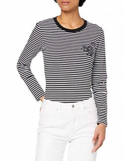 Superdry Womens Black Out L/S TOP Shirt, Mono Stripe, 14 von Superdry