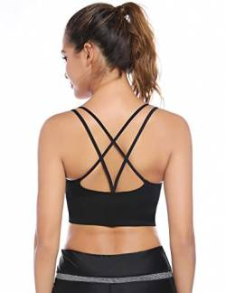 Sykooria Sport BH Damen Gepolstert Bustier Damen BH ohne Buegel Spaghettiträger Cross Back Design Push up BH Sport Bra Top für Yoga Fitness von Sykooria