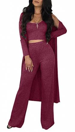 Sexy 2 Piece Outfits for Women Solid Crop Top High Waisted Long Pants Open Front Cardigan Sweater Set von Symina