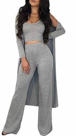 Sexy 3 Piece Outfits for Women Plain Crop Top Wide Leg Long Pants Long Sleeve Cardigan Sweater Set von Symina