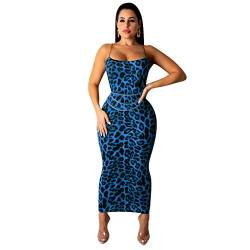 Symina Damen Sexy Kleid, Riemen Ärmellose Bodycon Midi Kleid Party Club Kleider, Sommer Design 2020 (Blue,M) von Symina