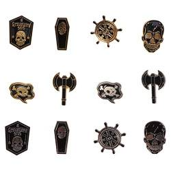 TENDYCOCO 12Pcs Skeleton Skull Ax Rudder Coffin Brooches Denim Jacket Shirt Collar Lapel Pin Buckle Badge Punk Jewery von TENDYCOCO