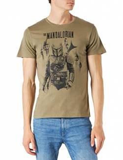THE MANDALORIAN Herren T-Shirt, kaki, M von THE MANDALORIAN