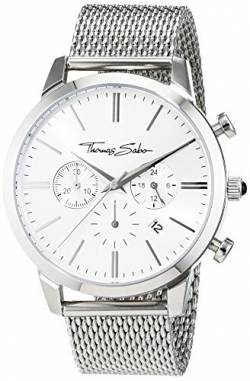 THOMAS SABO Herren Herrenuhr Rebel Spirit Chrono  Herrenuhr Rebel Spirit Chrono  Edelstahl Milanaisearmband WA0244-201-201 von THOMAS SABO