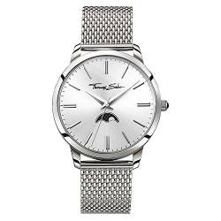 Thomas Sabo Herren-Armbanduhr Rebel Spirit Moonphase silber Analog Quarz WA0324-201-201-42 mm von THOMAS SABO