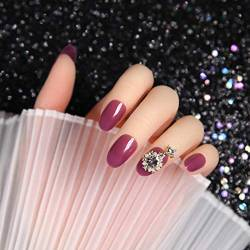TJJL Falsche Nägel 24 Stück Ice Transparent Rose Purple Anhänger Drill Oval Head Nail Acryl Frauen Wearable Full Cover Fake Nagel mit Designs und Kleber von TJJL