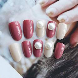 TJJL Falsche Nägel Round Jump Color Frauen Full Cover Acryl Press On Nails Kurze Imitation Pearl Decor Falsche Nail Art Patches mit 2G Kleber Sarg von TJJL