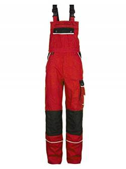TMG Arbeitslatzhose Herren | Schutz-Latzhose mit Kniepolster-Taschen & Reflektoren | Handwerker, Elektriker, Mechaniker | Rot 58 von TMG INTERNATIONAL Textile Management Group