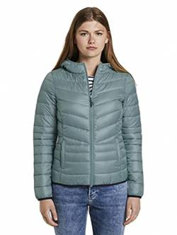 TOM TAILOR Denim Damen Polster Kaputze Jacke, 13178-Mineral Stone Blue, XS von TOM TAILOR Denim