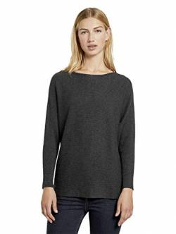 TOM TAILOR Denim Damen Batwing Pullover, 10522-Shale Grey Melange, XS von TOM TAILOR Denim